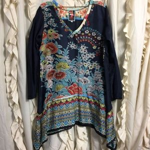 Johnny Was Navy Asymmetrical Floral Silk Tunic Top
